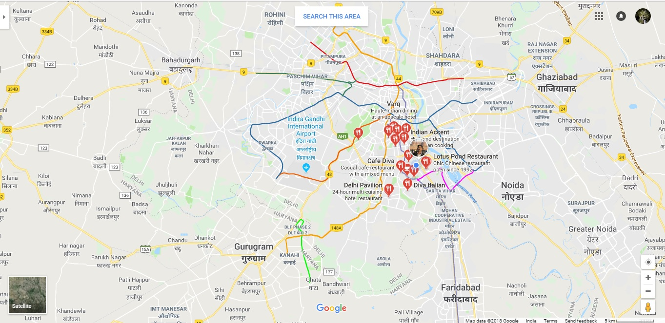 restaurants around Delhi Area