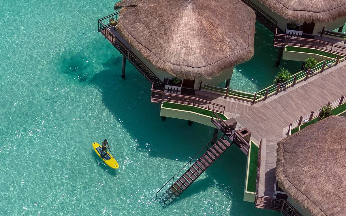 Adults only overwater huts in Riviera Maya, Mexico