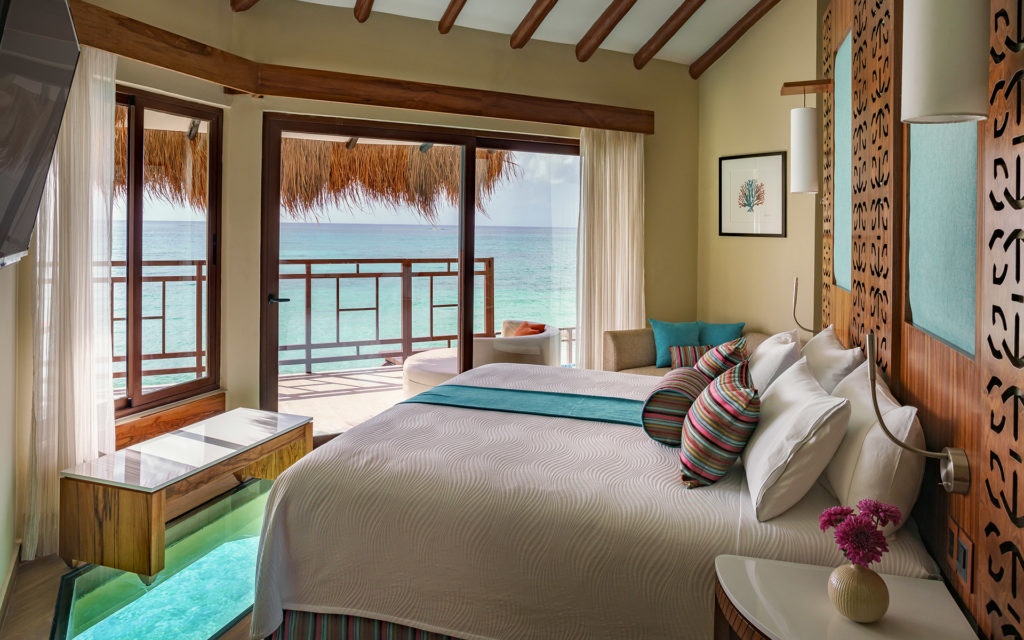 glass-bottomed bedroom giving a panoramic view of the Caribbean Sea