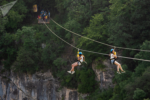 Zip-line in Yell Extreme Park