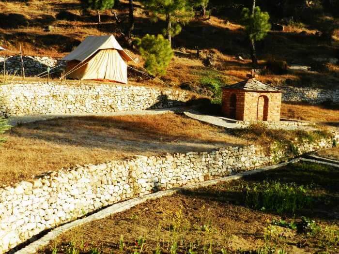 A single camp tent in Kausani - a popular destination for camping near Delhi