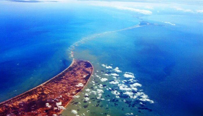 The Adam's Bridge, or Rama Setu, in Rameshwaram