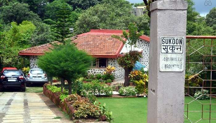 A view of Sukoon Villa in Lonavala on a beautiful day