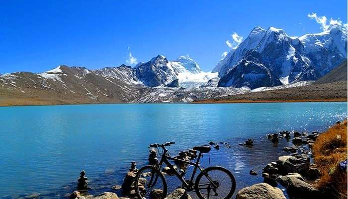 Crystal clear waters of Tsomgo lake - one of the most popular tourist places in Gangtok