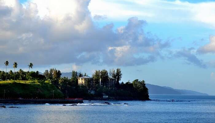 A distant shot of the Corbyn Cove beach that is one of the best places to visit in Port Blair
