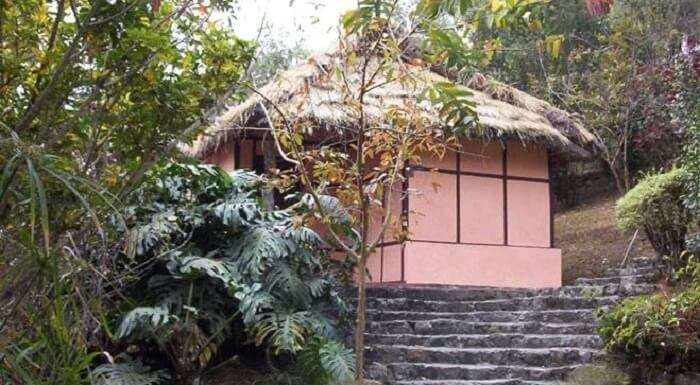 A cottage of the Martam Village amidst the greenery upon hills