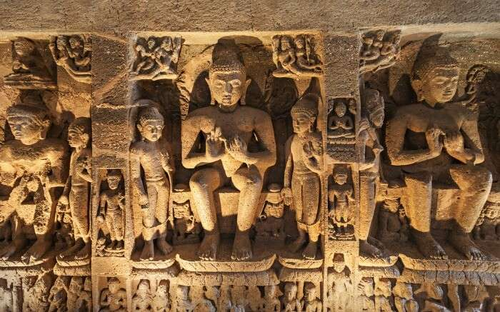 Buddhist sculptures in Ajanta Caves