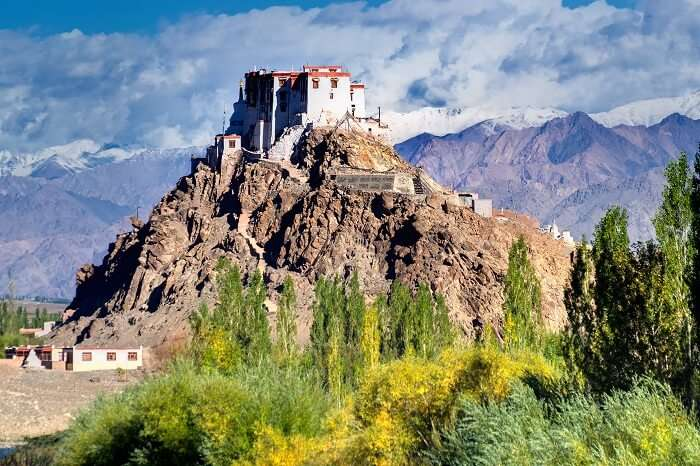 A distant view of the Stakna monastery in Ladakh