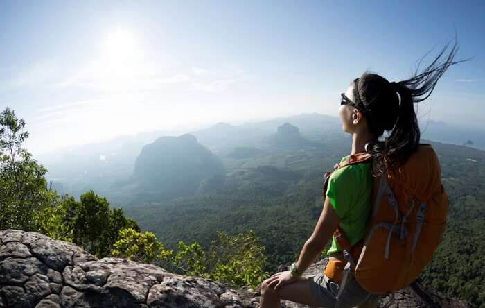 Girl looking at the view of Mount Abu