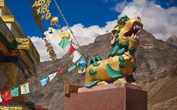 """Stone sculpture of """"Shishi"""" or Lion of Buddha in front ofT abo in Spiti"""