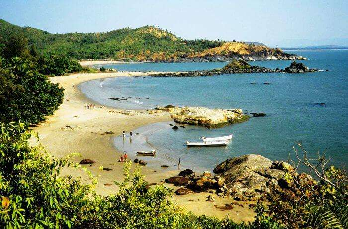 A magnificent view of the Om-shaped Om Beach in Gokarna