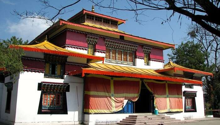 Front view of Enchey Monastery in Sikkim