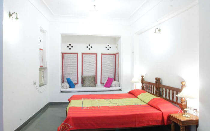 Interiors of a room in Aashiya Haveli in Udaipur